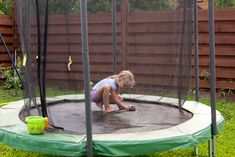cleaning the trampoline